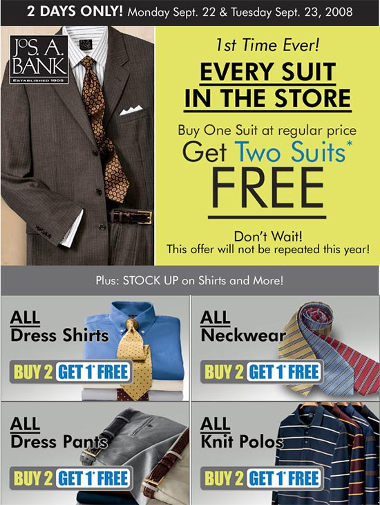 JoS. A. Bank Suit Sale – Buy One Suit, Get Two Free for Two Days Only